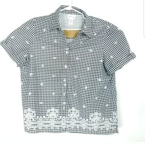 Alfred Dunner Womens XL Top Button Up V Neck